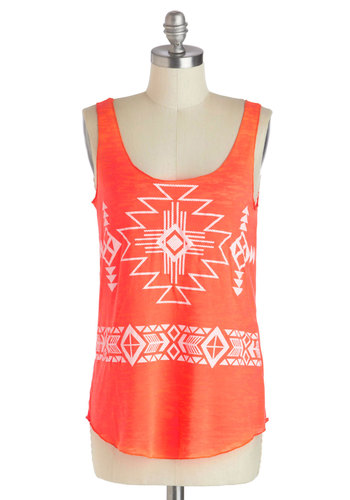 Hit the Open Road Top - Mid-length, Orange, White, Print, Casual, Beach/Resort, Folk Art, Summer, Tank top (2 thick straps)