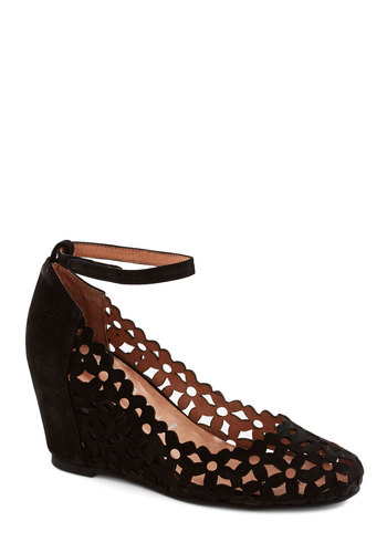 The Conservatory at Twilight Wedge by Jeffrey Campbell - Black, Solid, Cutout, Flower, Wedge, Leather, Party, Suede