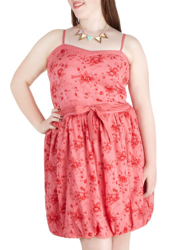 Rosé Bubbles Dress in Plus Size - Cotton, Pink, Red, Floral, Belted, Shift, Spaghetti Straps, Sweetheart, Wedding, Daytime Party, Summer, Exclusives