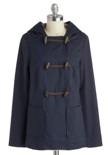 Off to Acadia Coat - Cotton, Mid-length, 2, Blue, Solid, Hoodie, Long Sleeve, Buttons, Pockets, Casual, Vintage Inspired, Spring, Fall