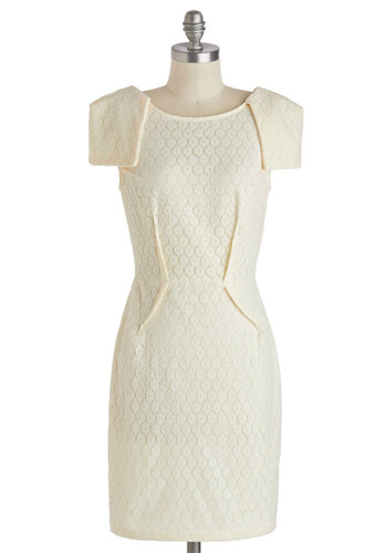 Accomplishment to Be Dress - Mid-length, Cream, Solid, Lace, Daytime Party, Graduation, Sheath / Shift, Cap Sleeves, Scoop, Summer
