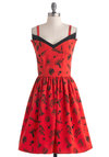 Jetting Ready Dress - Mid-length, Red, Black, Novelty Print, A-line, Spaghetti Straps, Rockabilly, Pinup, Vintage Inspired, 50s, Quirky, Casual