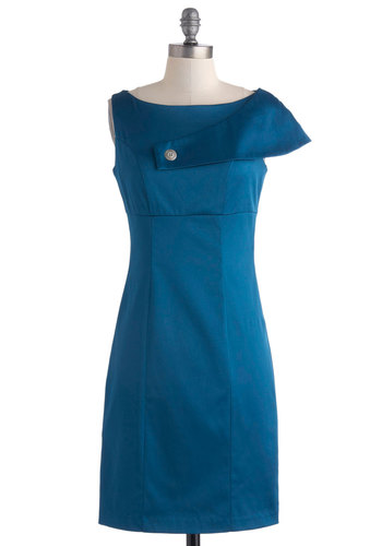 Recital Wave Dress - Mid-length, Blue, Solid, Buttons, Party, Sheath / Shift, Sleeveless, Boat, Wedding, Cocktail, Bridesmaid
