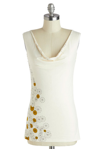 Pretty in Parasols Top - Mid-length, Jersey, Cotton, Cream, Yellow, Black, Print, Casual, Eco-Friendly, Summer, Cowl, Tank top (2 thick straps)