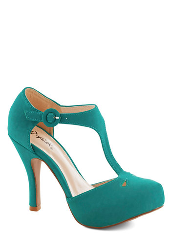 Illustrious Lady Heel - Green, Solid, Cutout, High, Platform, Wedding, Party, Good, T-Strap