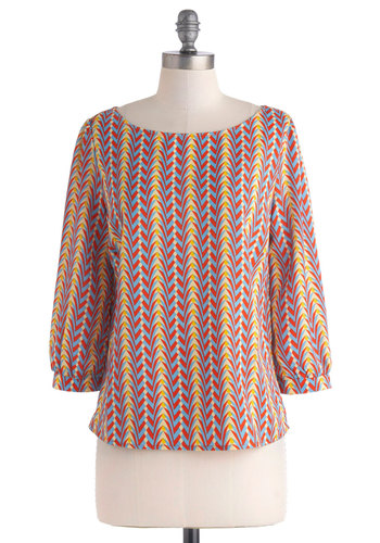 Retro Repertoire Top - Multi, Red, Yellow, Blue, White, Print, Work, 3/4 Sleeve, Mid-length, Chevron, Red, 3/4 Sleeve