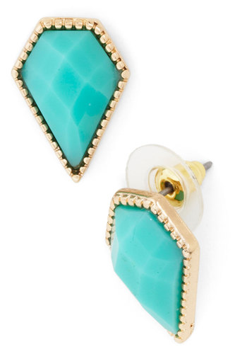Simple Spotlight Earring - Blue, Gold, Solid, Party, Gold