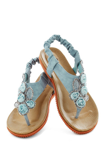 Floral Stroll Sandal - Blue, Flower, Rhinestones, Daytime Party, Fairytale, Flat, Summer