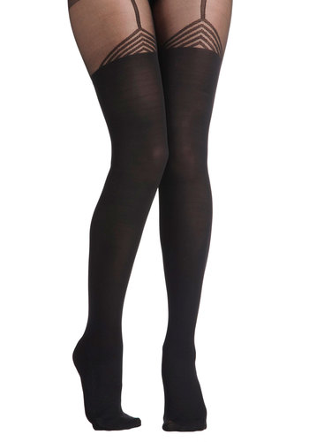 Out and Edgy Tights - Black, Print, International Designer, Sheer, Pinup, Vintage Inspired, 40s, 50s, 60s