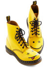 What Shoe Lookin At? Boot by Dr. Martens - Yellow, Lace Up, Low, Leather, Novelty Print, Casual, Vintage Inspired, 90s, Kawaii, Quirky