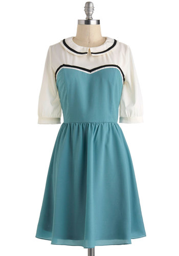 Brunch on the Balcony Dress - Mint, Peter Pan Collar, Casual, A-line, 3/4 Sleeve, Collared, Mid-length, Black, White, Summer