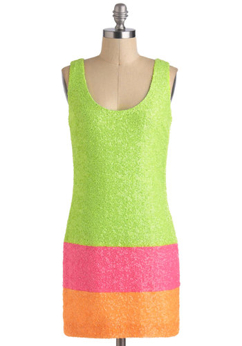 Your Best Sherbet Dress - Green, Orange, Pink, Sequins, Party, Girls Night Out, Shift, Sleeveless, Short, Neon, Colorblocking, 80s, Scoop