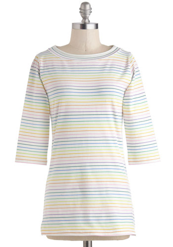 Lines Around the Block Top in Rainbow - Beach/Resort, Exclusives, Mid-length, White, Yellow, Green, Blue, Purple, Pink, Stripes, Casual, 3/4 Sleeve, Boat, Travel, Multi, 3/4 Sleeve, Top Rated