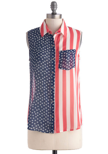 Flag Swagger Top - Multi, Red, Blue, White, Stripes, Sleeveless, Collared, Sheer, Mid-length, Summer