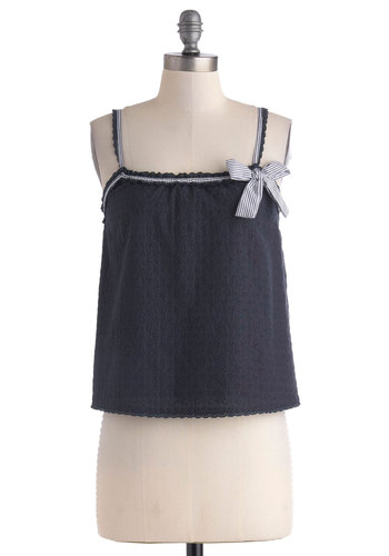 Eyelet the Sun Shine Top - Cotton, Short, Blue, Solid, Bows, Casual, Nautical, Summer