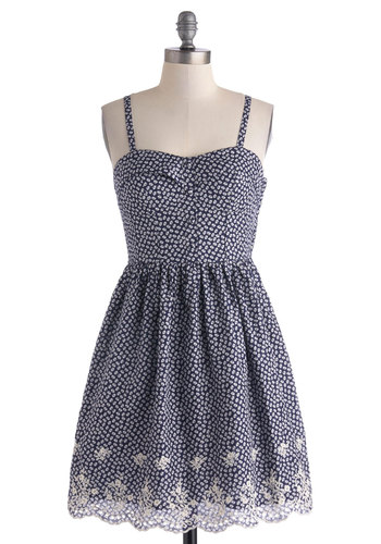 Fest of All Dress - Mid-length, Cotton, Blue, White, Print, Cutout, Embroidery, Casual, Spaghetti Straps, Sweetheart, Buttons, A-line