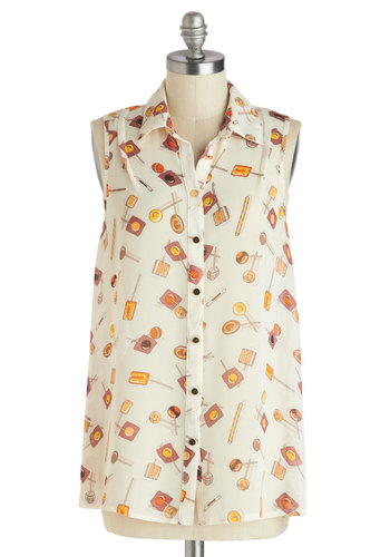 Sucker for Sweets Top - Novelty Print, Sheer, Mid-length, White, Orange, Yellow, Buttons, Quirky, Sleeveless, Collared