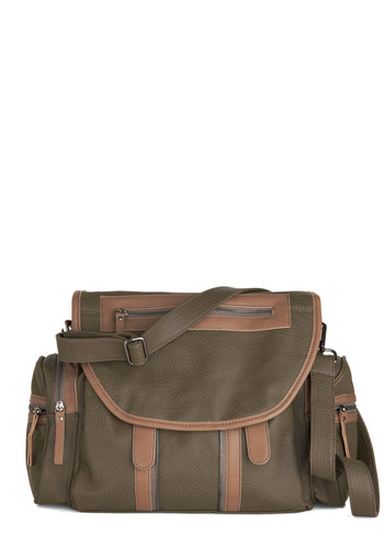Draft Edits Bag - Solid, Exposed zipper, Pockets, Faux Leather, Brown, Work, Colorblocking