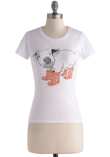 Pig in Boots Top - White, Black, Casual, Short Sleeves, Crew, International Designer, Print with Animals, Quirky, Jersey, Mid-length, Pink, White, Short Sleeve