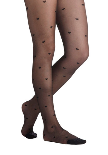 As Love Would Have It Tights by Ruby Rocks - Black, Print, Sheer, International Designer