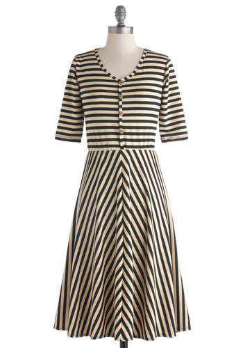 Billow Before Sunset Dress - Long, Tan / Cream, Black, Stripes, Buttons, Casual, A-line, Short Sleeves, V Neck, French / Victorian, Button Down