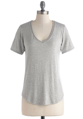 Breeze Into It Top in Grey - Mid-length, Grey, Solid, Casual, Short Sleeves, V Neck, Minimal, Variation