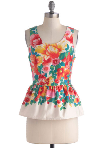 For Flowers on End Top - Multi, Red, Yellow, Green, Blue, Pink, Floral, Daytime Party, Peplum, Sleeveless, Spring, Mid-length