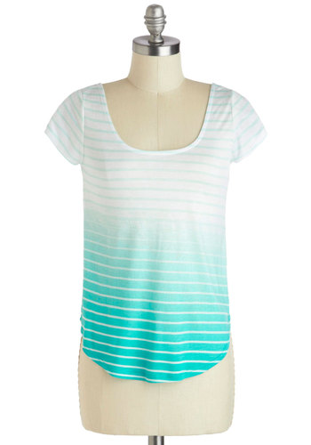 Lithography Class Top in Blue - Jersey, Mid-length, Blue, Stripes, Ombre, Casual, Short Sleeves, Scoop, Cutout, Travel, Variation, White