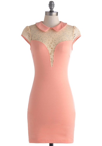 Smoothie Date Night Dress - Short, Pink, Tan / Cream, Lace, Peter Pan Collar, Party, Bodycon / Bandage, Cap Sleeves, Collared, Sheer, Solid, Girls Night Out, Pastel, Summer