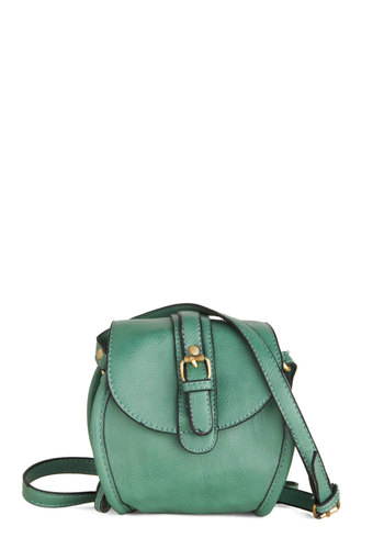 Gleeful Gatherer Bag - Green, Gold, Solid, Studs, Trim, Faux Leather