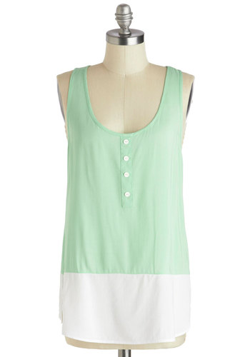 Sweet Pea Jamboree Top - Mint, White, Buttons, Casual, Pastel, Colorblocking, Mid-length, Solid, Beach/Resort, Travel, Racerback, Summer, Scoop