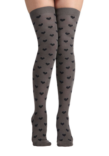 Demure in Love Socks - Grey, Print, Scholastic/Collegiate, Black