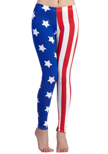 Fresh Take Leggings in Flag - Blue, Red, White, Stripes, Novelty Print, Vintage Inspired, Quirky, Skinny