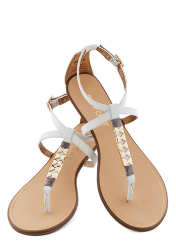 Golden Morning Sandal - Low, Faux Leather, White, Gold, Beach/Resort, Summer, Luxe, Solid, Casual, Daytime Party