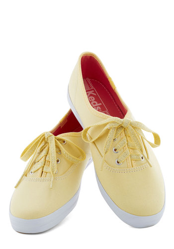 Sidewalk of Fame Sneaker in Yellow by Keds - Flat, Yellow, Pastel, Lace Up, Spring