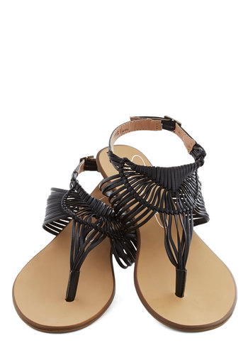 Prairie Grass Sandal in Black - Flat, Faux Leather, Black, Beach/Resort, Summer, Solid, Woven, Casual, Strappy, Variation