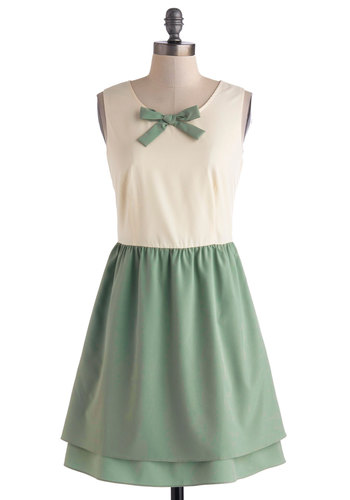 The Fine Mint Dress - Mid-length, Green, Tan / Cream, Bows, Pockets, Party, A-line, Sleeveless, Scoop, Vintage Inspired, 30s, Summer