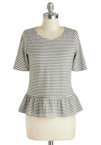 Puget Together Top - Mid-length, Jersey, Grey, White, Stripes, Peplum, Work, Casual, Nautical, French / Victorian, Short Sleeves