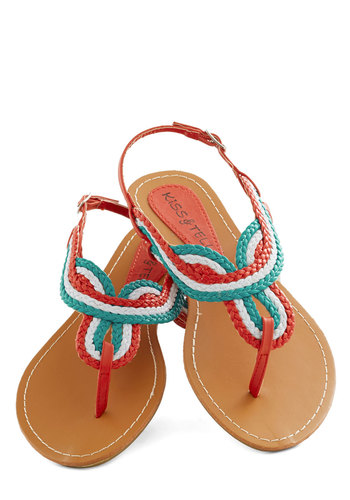 At The Amusement Park Sandal in Day - Multi, Braided, Beach/Resort, Low, Faux Leather, Red, Blue, White, Casual, Colorblocking, Variation, Summer