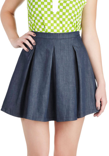 Ever So Pleats Skirt - Short, Cotton, Blue, Solid, Pleats, Casual, A-line, Mini