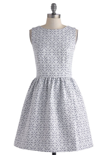 Having a Wonderland Time Dress by Kensie - Mid-length, White, Blue, Eyelet, Daytime Party, Graduation, Fit & Flare, Sleeveless, Crew