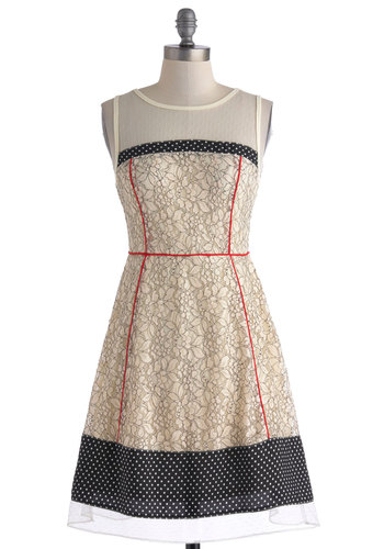 Miscellany Accomplished Dress by Ryu - Mid-length, Cream, Black, Lace, Trim, Party, A-line, Sleeveless, Crew, Sheer, Red, Polka Dots, Floral