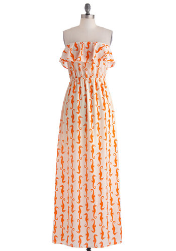 See and Be Seahorse Dress - Print with Animals, Long, Orange, Ruffles, Casual, Maxi, White, Novelty Print, Beach/Resort, Quirky, Strapless, Summer, Nautical