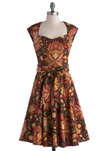 High Noon Harvest Dress - Cotton, Brown, Multi, Floral, Belted, Party, A-line, Cap Sleeves, Sweetheart, Vintage Inspired, 50s, Fit & Flare, Long