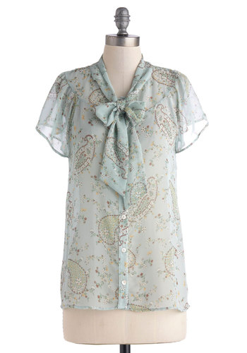 Falling in Clover Top - Blue, Paisley, Tie Neck, Short Sleeves, Mid-length, Sheer, Yellow, Brown, White, Buttons, Work, Daytime Party, Vintage Inspired, Spring, Short Sleeve, Blue