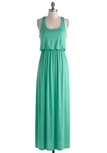 Long Island Sound Dress - Long, Jersey, Green, Solid, Casual, Maxi, Racerback, Scoop, Summer, Mint