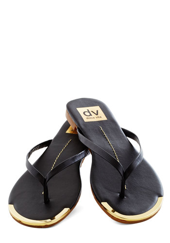Piazza Tour Sandal in Black by Dolce Vita - Black, Gold, Solid, Flat, Faux Leather, Summer