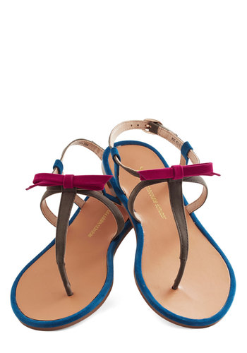 Winsome Waterfront Sandal - Grey, Pink, Solid, Bows, Summer, Flat, Better