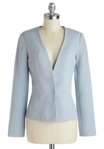 It's Now or Clever Blazer - Short, Blue, Solid, Work, Long Sleeve, 2, Daytime Party, Pastel, Spring