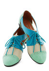 Cutout and About Town Flat in Mint - Blue, Green, Tan / Cream, Cutout, Menswear Inspired, Colorblocking, Flat, Lace Up, Faux Leather, Mint, Statement